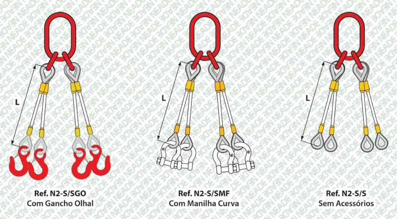 NEADE laços referência n2 4 pernas anel sub elo
